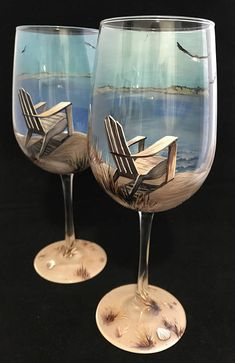 This Wine Glass Hand Painted Beach Scene Nautical Adirondack Chair Coastal Unique Glassware Collectible Artwork Seashell Ocean By the Sea is just one of the custom, handmade pieces you'll find in our wine glasses shops. Wine Glass Crafts, Wine Craft, Wine Bottle Crafts, Bottle Painting, Bottle Art, Beach Scene Painting, Hand Painted Wine Glasses, Unique Wine Glasses, Beach Scenes