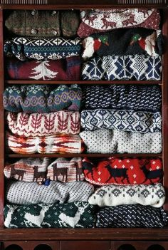 Some warm Scandinavian patterned sweater that doesn't involve animals or trees in the pattern.