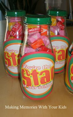 Making Memories ... One Fun Thing After Another: You're the Star of Our School {Teacher Appreciation} Starburst candy in recycled Starbucks bottles with sprayed lids