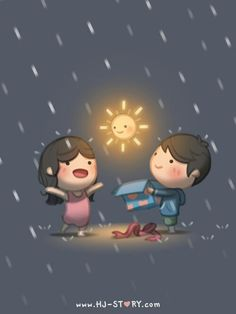 HJ-Story :: Love is. sunshine on a rainy day - Love is. pinning this… Hj Story, Cute Love Stories, Love Story, Anime Chibi, What Is Love, My Love, My Sunshine, Rainy Days, Cute Cartoon