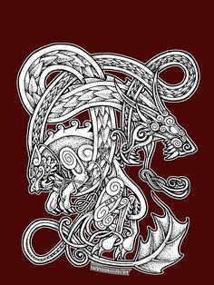 Fenrir och jörmungand graphic t-shirt tattoo ideas viking ta Hugin Munin Tattoo, Fenrir Tattoo, Norse Tattoo, Viking Tattoos, Celtic Tattoos For Men, Celtic Dragon Tattoos, Maori Tattoo Designs, Viking Tattoo Design, Tattoo Sleeve Designs