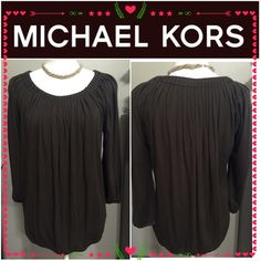 Michael Kors Brown top Excellent preowned condition. No flaws, only worn a few times. Dark brown color. Size small but also fits medium well. Sleeves come down to the elbow. Offers welcome Michael Kors Tops Blouses