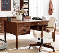 Printer's Keyhole Desk, Tuscan Chestnut stain - Wood Desks - Home Office Furniture - Pottery Barn Upholstered Desk Chair, Reclaimed Wood Desk, Home Office Desks, Office Decor, Office Ideas, Home Office Furniture Sets, Ikea Office, Large Desk, Glass Cabinet Doors