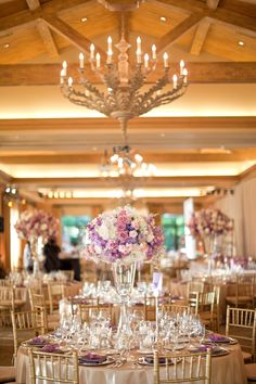 Purple wedding flowers incorporated as an accent