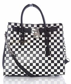 776faf38aeeb Michael Kors HAMILTON Black White Checker Checkerboard Tote Bag