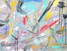 Abstract Painting Original Artwork 18x24 Blue by KamaraLarryStudio