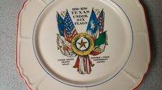 TEXAS UNDER SIX FLAGS UNIVERSAL POTTERIES OHIO 1836-1936 CENTENNIAL PLATE
