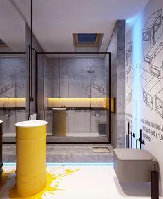 El otro baño, más pequeño, mantiene la lógica del rest del departamento. Sin duda, todas las miradas se las lleva el vanitory construido sobre un tacho y cuya mancha amarilla se continúa en el piso.