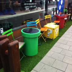 New Mario themed outdoor seating outside Webhallens cafe! Webhallens game store in Sweden