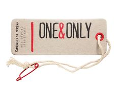 ONE&ONLY // urban outfitters hangtag with red safety pin