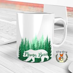 Mama Bear Mug | Mama Bear | Green Forest | Gifts for Mom | Mother of the Bride Gift | Mother of the Groom Gift | Bear Mug | CM-140 by FoxyRoxyShop on Etsy
