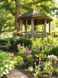 Popular Ort f r Entspannung im Garten Holzpavillon romantische Wege gestalten