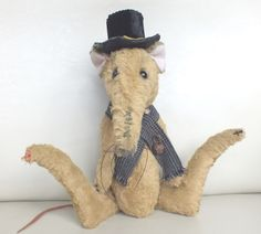 """""""Typhus"""" the Victorian sewer rat in a fetching, distressed top hat. by Ragtail n Tickle Funny Rats, Teddy Bear, Victorian, Hats, Top, Animals, Animales, Hat, Animaux"""