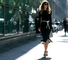 Black dress and bangs: Patricia Manfield.