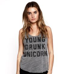 Young Drunk Unicorn Womens Tank Grey – Buy Me Brunch  Forget buying me brunch someone buy me this shirt.
