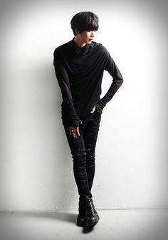 streetwear minsobi – Skinny fit Herrenjeans mit beschichtetem Chino Stretch. Vorne im coolen damage Look.
