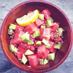 Light & Fresh Honey Watermelon Avocado Salad.  All it has is: *2 cups diced watermelon, *1/4 of a medium avocado diced, *1 teaspoon sea salt sunflower seeds, *1/2 tablespoon honey, and a light slash of lemon juice.