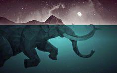 General 1280x800 artwork Moon elephants low poly water sea split view