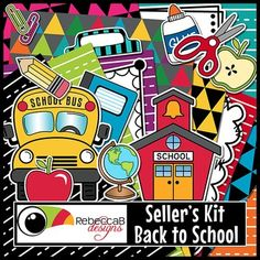 Seller's Kit Back to School is a huge kit with bright backgrounds, sticker-style clip art and borders for sellers to create awesome product covers, posters, worksheets etc. Place a border over a fun, colorful background and add the sticker-style clip art to create your back to school products.