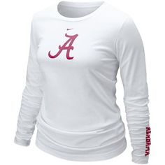 Nike Alabama Crimson Tide Ladies White Classic Logo Long Sleeve T-shirt Only L in stock---prob OK since 'slimmer fit'