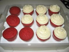 Paula Deen's Red Velvet Cupcakes with Cream Cheese Frosting....Perfect for my Valentines Day anniversary :)
