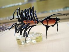 Why do just a mask when a pair of spider eyeglasses will do. These look handmade and custom made. The blog is in Japanese