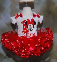 Adorable Minnie Mouse Birthday Tutu Outfit , 2 piece set includes Appliqued Top and Ribbon Trimmed Tutu