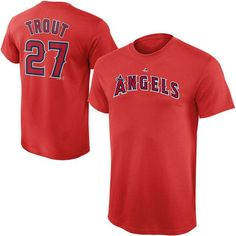 Mike Trout Los Angeles Angels Majestic Youth Player Name & Number T-Shirt - Red