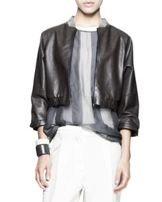 Brunello Cucinelli Tech Snap Jacket, Quilted-Shoulder Top, Tapered Pleated Pants, Metallic Leather Belt Long Necklace