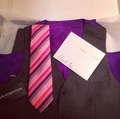 Grey haze with royal purple lining complete pink multi striped tie