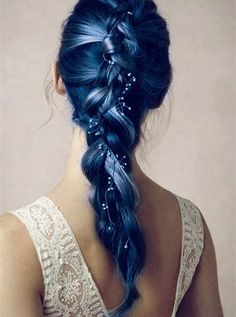 ombre lake blue hair with classic fishtail braid~ amzing wedding hair look