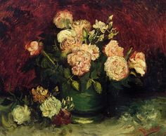 Bowl with Peonies and Roses. Paris, Autumn 1886, Size  59 x 71cm