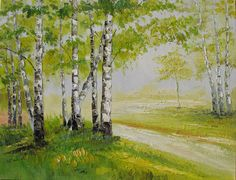 A beautiful painting of birch woods by Marchella Piery. I love the shades of green in this painting.