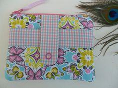 Handmade Coin/card Purse Pouch popper pocket Aqua pink butterfly print fabric | eBay