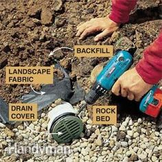 Stop dealing with water problems in your home and yard by installing this in-ground drainage system. This is a permanent, long-term solution to your wet yard. These step-by-step instructions and how-to photos walk you through the DIY installation. This pr Backyard Drainage, Drainage Ditch, Backyard Landscaping, Gutter Drainage, Landscape Drainage, Landscaping Ideas, Backyard Projects, Outdoor Projects, Backyard Ideas