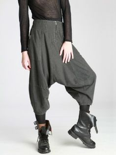 LOW CROTCH TROUSERS MADE OF WOOLY LOOKING COTTON- love everything on this site