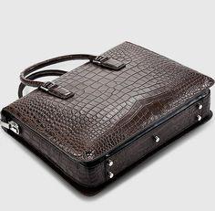Brown Luxury Alligator Business Briefcase Alligator Laptop Bag for Men-Bottom Business Briefcase, Briefcase For Men, Leather Bag Tutorial, Laptop Bag For Women, Leather Laptop Bag, Leather Accessories, Fashion Accessories, Leather Men, Leather Bags