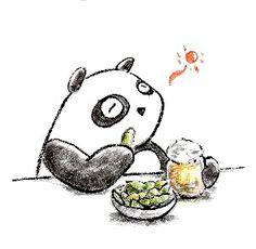【一日一パンダ】 2014.7.30 大豆の収穫時期が未成熟な状態が枝豆だよ。 ただ枝豆として収穫するのに良い状態として 品種改良はされているよ。 #枝豆 #パンダ