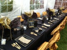 Black Gold Party - Leila Q's Birthday / black, gold - Photo Gallery at Catch My Party 50th Birthday Party Ideas For Men, 90th Birthday Parties, Gold Birthday Party, 50th Party, Mom Birthday, Birthday Party Decorations, Birthday Celebration, 60th Birthday Centerpieces, Fiftieth Birthday