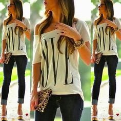 Sexy Womens Short Sleeve Loose White T Shirt Summer Casual  Lover Tops Blouse  #Unbranded #Blouse #Casual