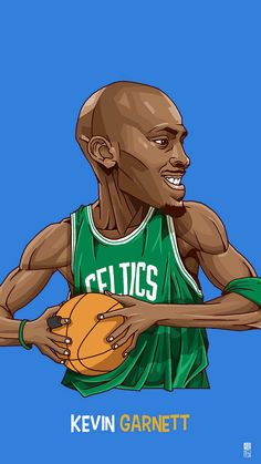 Kevom Garnett. Tap to see Collection of Famous NBA Basketball Players Cute Cartoon Wallpapers for iPhone. - @mobile9