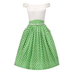 'Carla' Cream Green Polka Dot Swing Dress ($41) ❤ liked on Polyvore featuring dresses, green, trapeze dresses, flared skirt, green circle skirt, swing dress and button dress