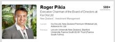 Roger Pikia is the Chief Executive Officer of Te Arawa Group Holdings Limited and has a strong background in the primary sector with over 20 years experience as a dairy farmer and advisor. https://www.linkedin.com/in/roger-pikia-4372867a