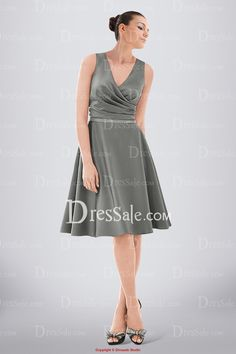 Classy Knee-length V-neck A-line Satin Bridesmaid Dress Adorned with Ruches and Beaded Band