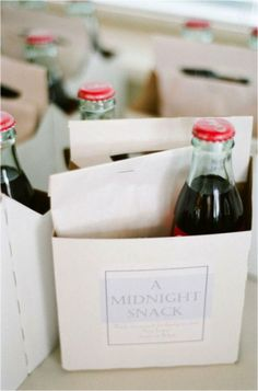 Cute idea to send guests home with something like this at the end of the night.