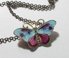 Butterfly Necklace Enamel Sterling Signed CX Norway Purple