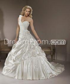 Splendid A-line One-shoulder Sleeveless Chapel Pleats Wedding Dresses