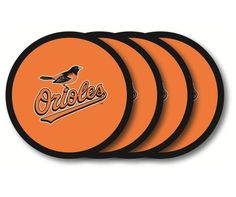 Perfect for protecting your furniture, these heavy-duty vinyl coasters are sold in sets of four. Beautifully decorated with team logos and colors, these coa