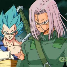 Vegeta and Future Trunks Dragon Ball Z style Dragon Ball Gt, Dragonball Super, Vegeta And Trunks, Dbz Characters, Dragon Images, Z Arts, Illustrations, Anime Comics, Manga Anime