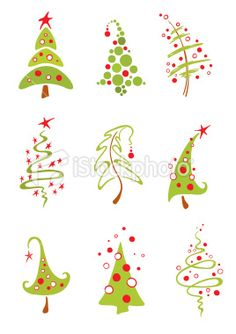 Modern christmas trees Royalty Free Stock Vector Art Illustration